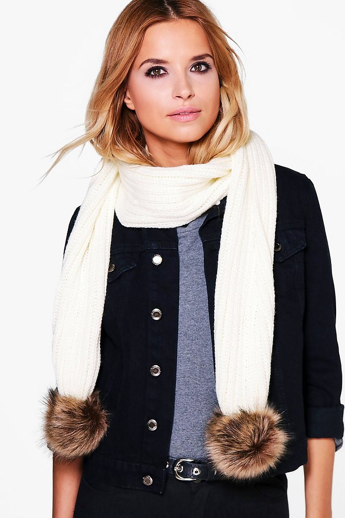 Eve Faux Fur Pom Knitted Scarf