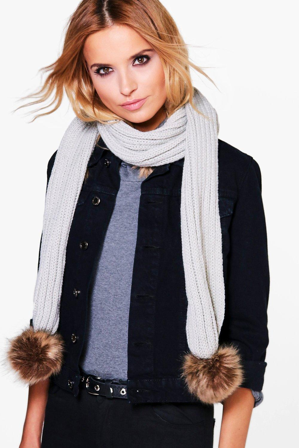 Faux Fur Pom Knitted Scarf - grey - Eve Faux Fur P