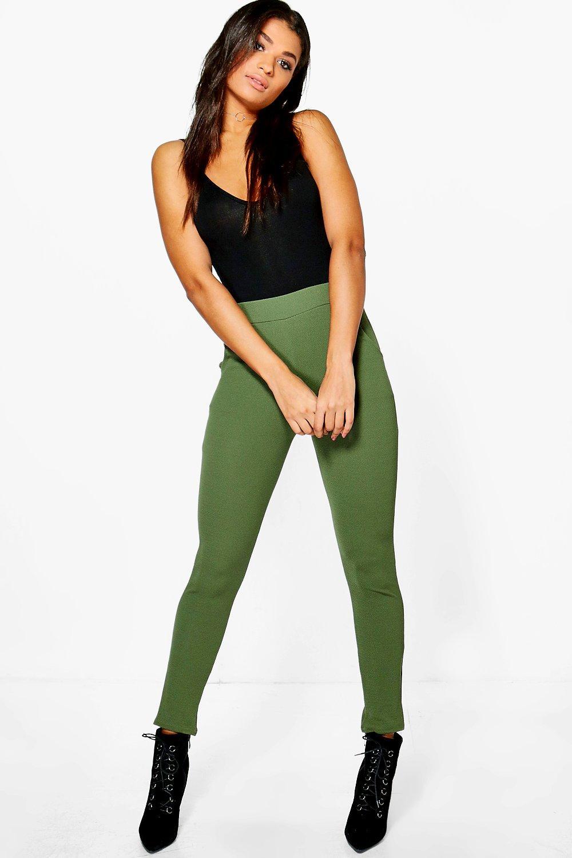 Crepe Stretch Skinny Trousers  khaki