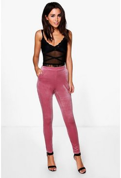 Eboni Pocket Side Skinny Stretch Velvet Trousers