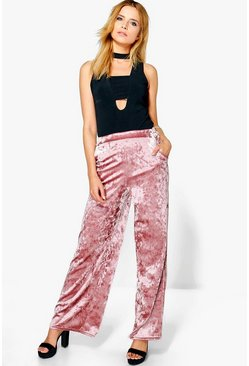 Ysabelle Crushed Velvet Wide Leg Trousers