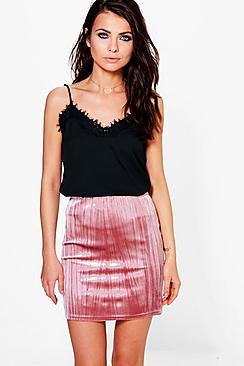 Yasmine Pleated Velvet Mini Skirt
