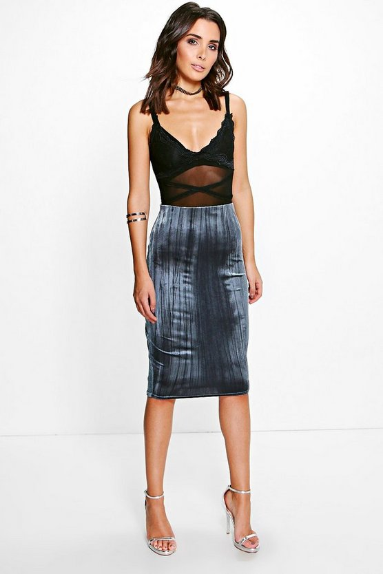 Sofi Pleated Velvet Midi Skirt