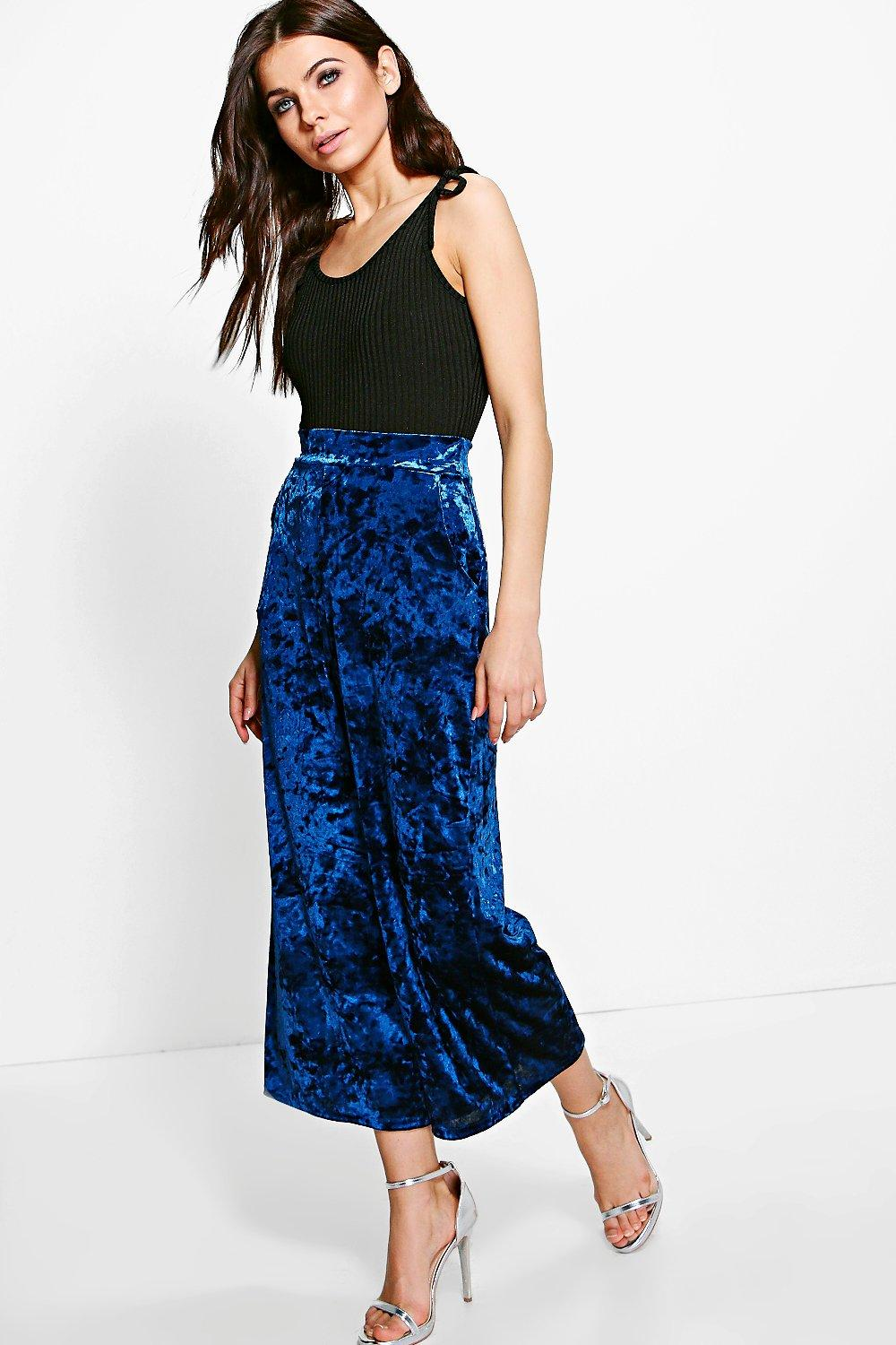 Willow Crushed Velvet Wide Leg Culottes