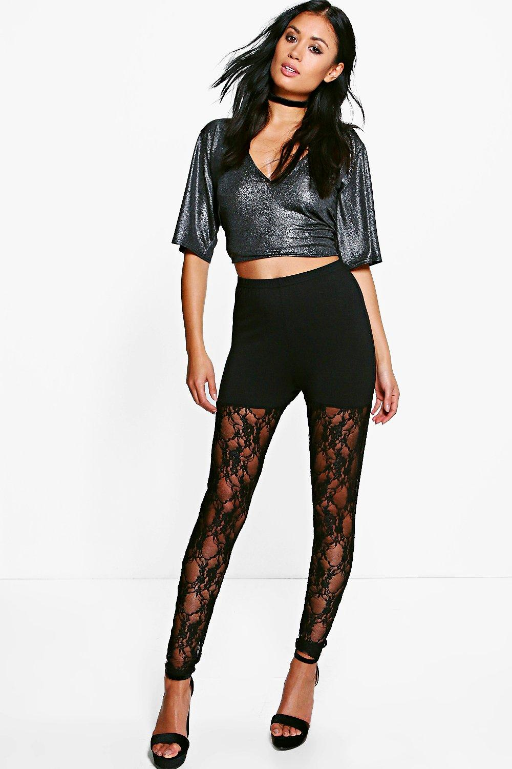 Tahira Full Lace Leg Leggings black