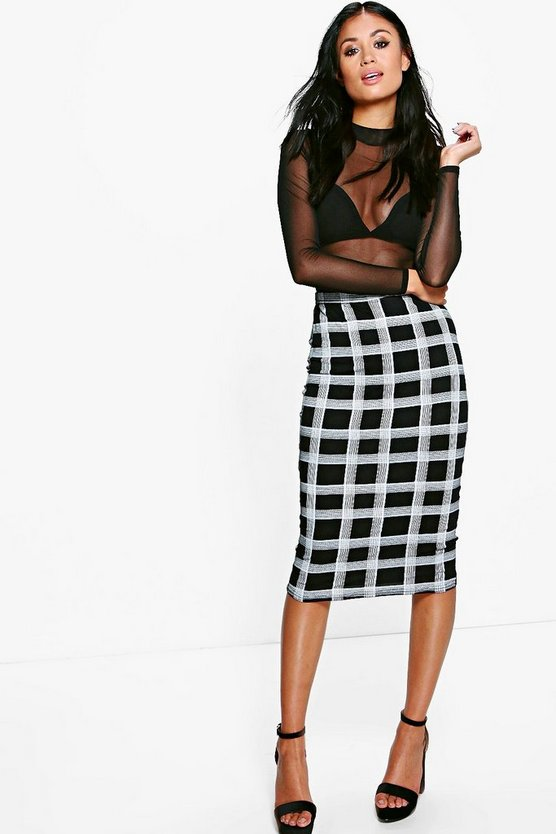 Suri Checked Bodycon Midi Skirt