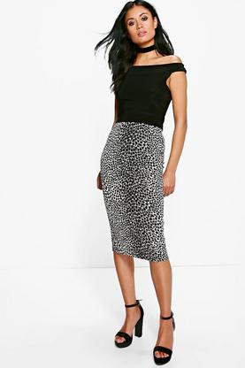 Paola Animal Print Bodycon Midi Skirt