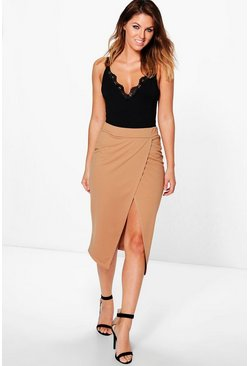 Megzhan Wrap Over Bodycon Midi Skirt