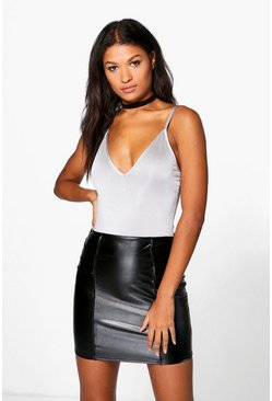 Kiara Leather Look Seam Detail Mini Skirt