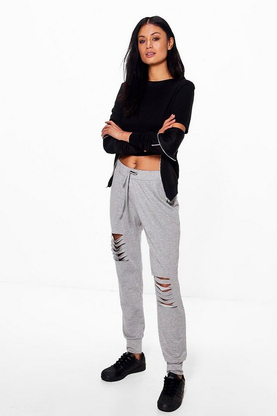 Athira Distressed Ripped Knee Relaxed Joggers