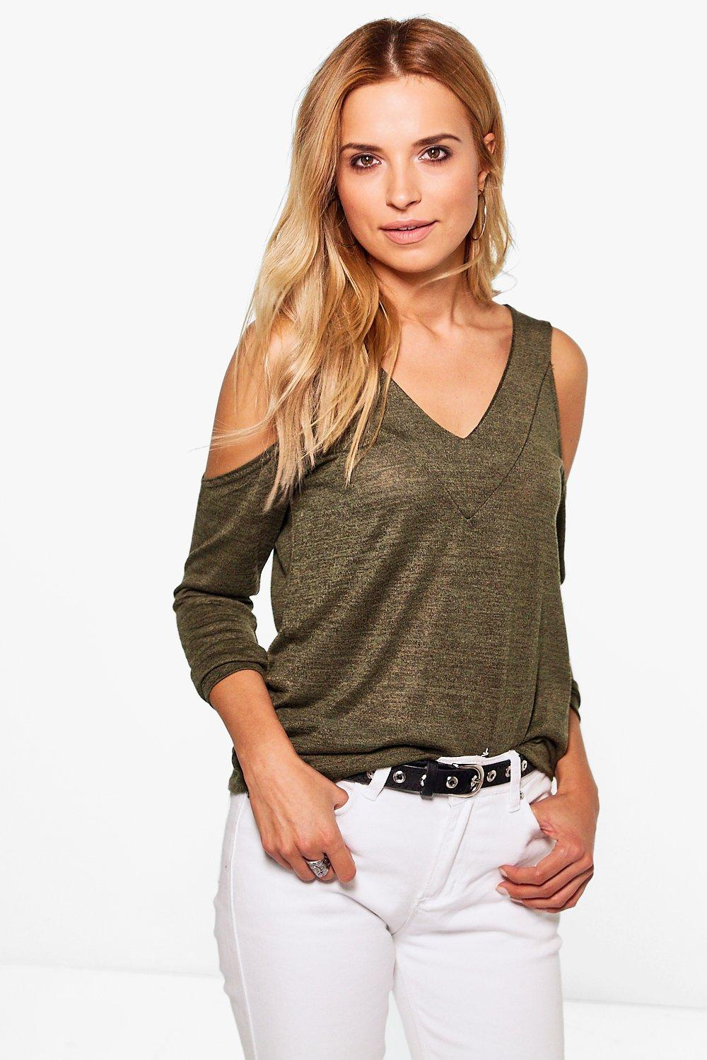 Emily Cold Shoulder Knitted Top
