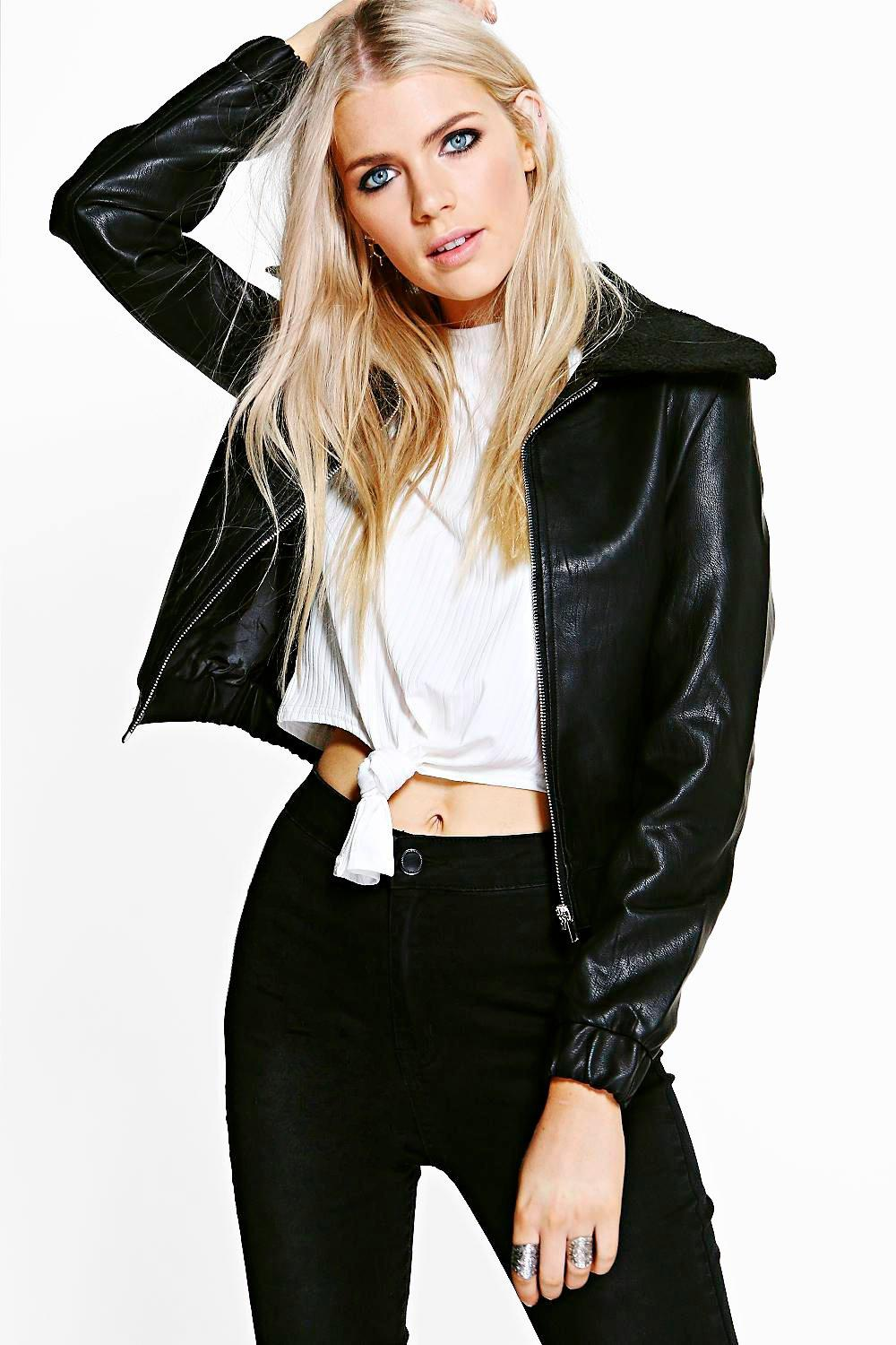 Phoebe Faux Fur Collar PU Bomber Jacket
