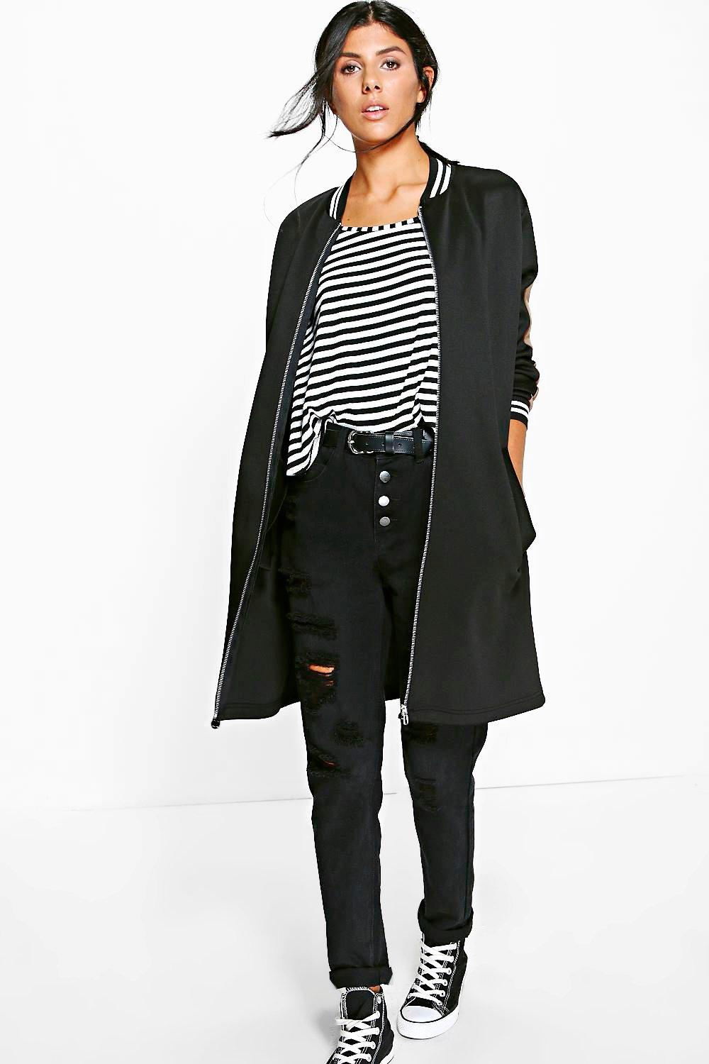 Megan Stripe Bomber Jacket