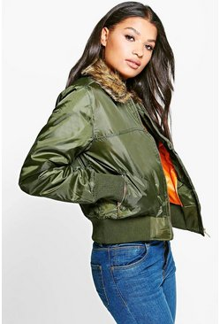 Jessica Faux Fur Collar Bomber Jacket