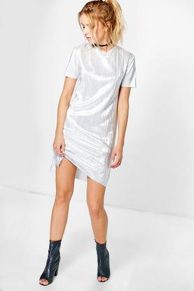 Juanita Metallic Pleat Shift Dress