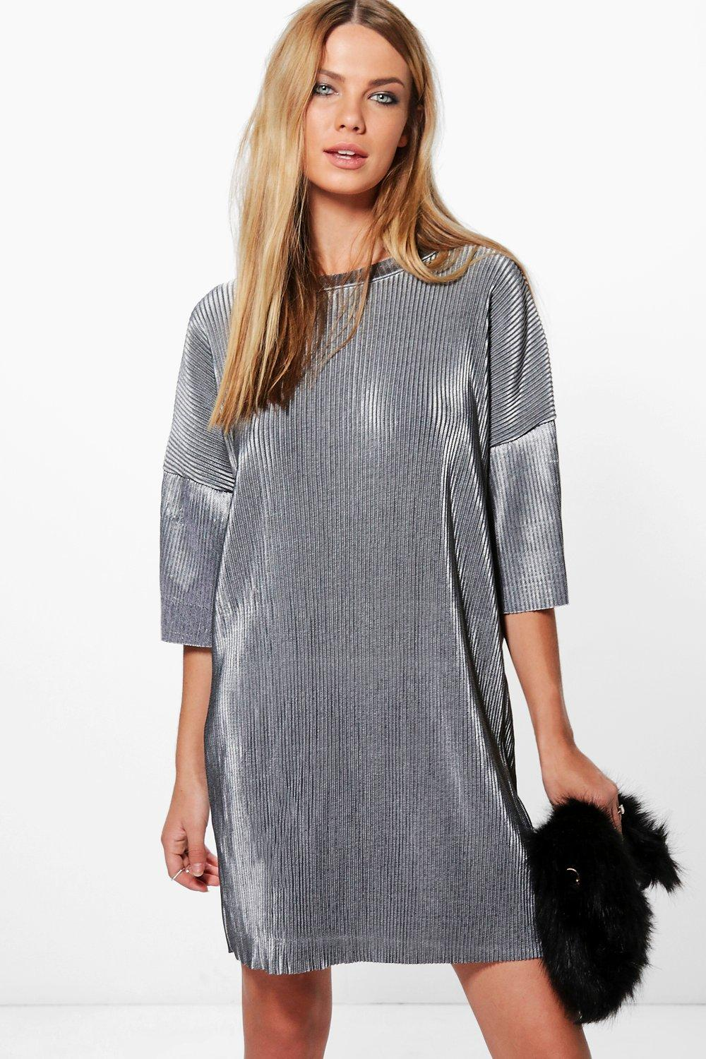 Jinny High Neck Pleated Metallic Shift Dress