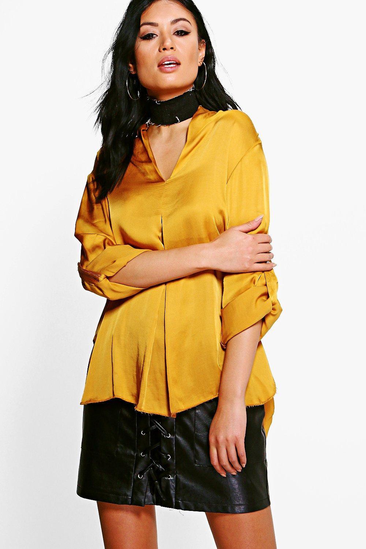 Satin Shirt - chartreuse