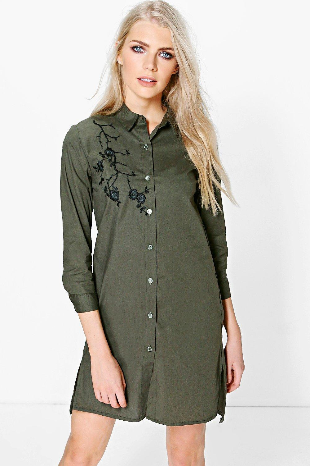 Oriental Embroidary Shirt Dress  khaki
