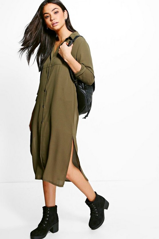 Quinn Button Through Split Side Shirt Dress