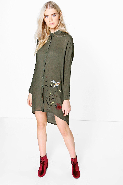 Embroidered Batwing Shirt Dress  khaki