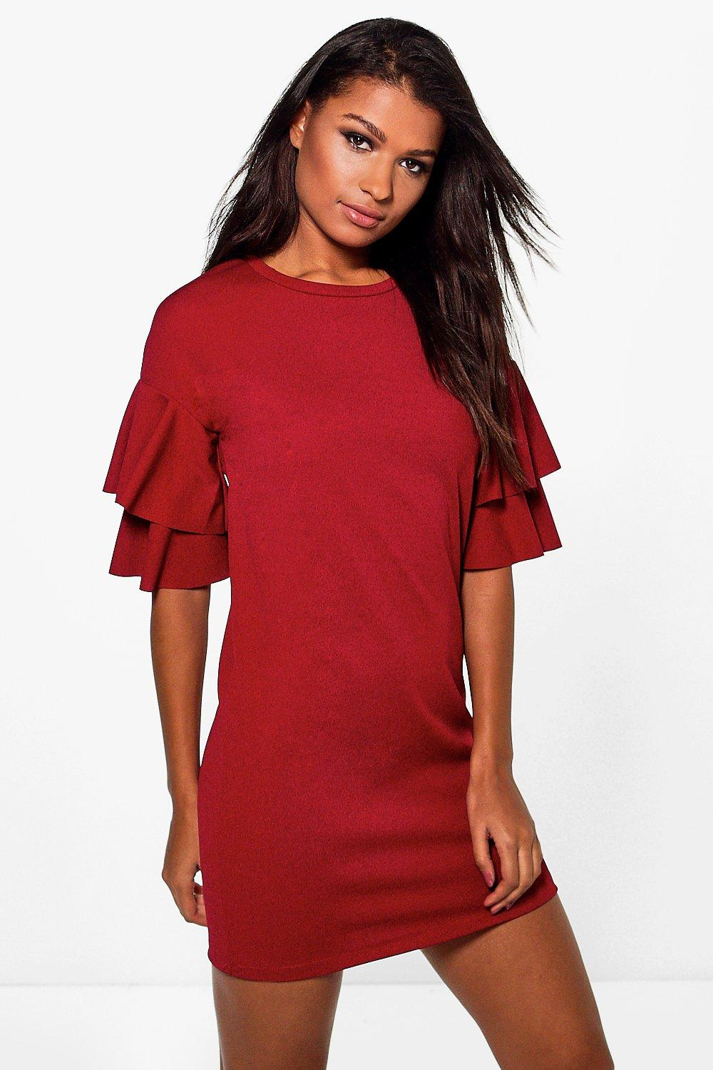 Farah Double Frill Sleeve Shift Dress