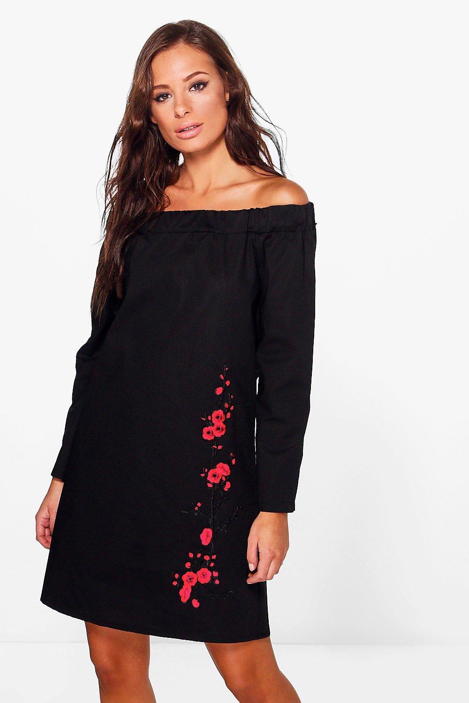 Boohoo womens freida long sleeve off shoulder shift dress in black