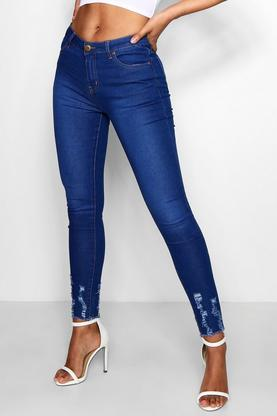 Abby High Waisted Skinny With Distressed Hem Jeans