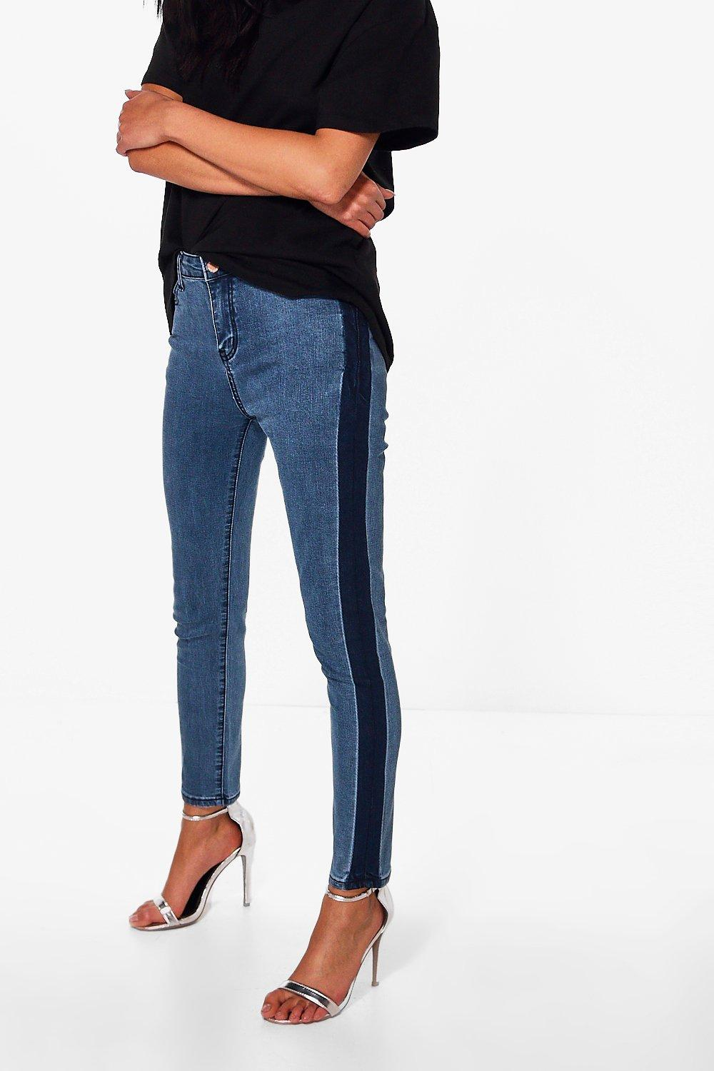 Abby High Rise Side Stripe Skinny Jeans