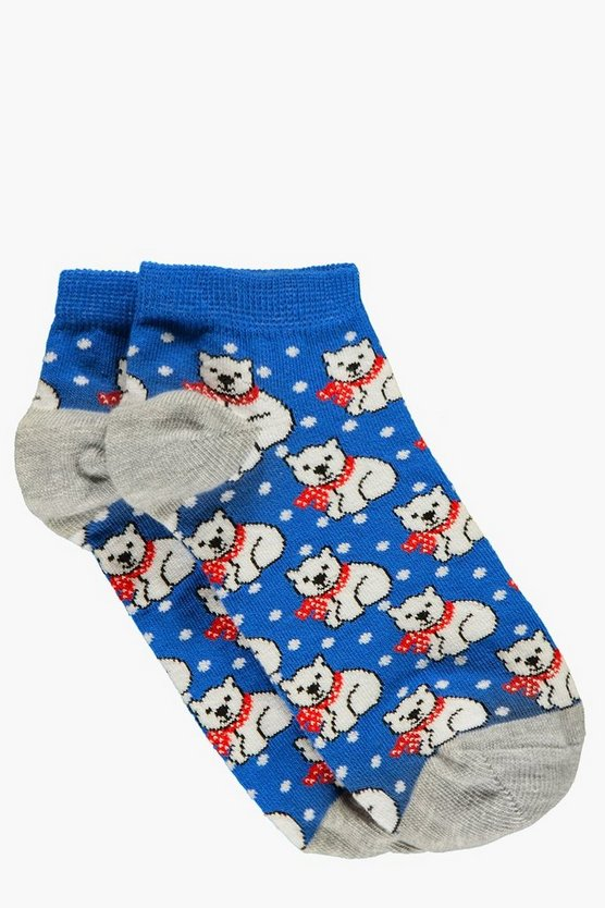 Nina Polar Bear Print Trainer Socks