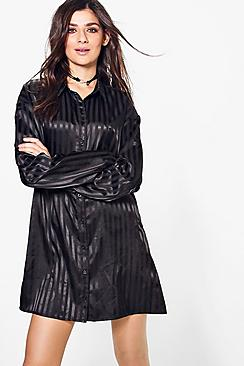 Kimberly Satin Stripe Shirt Dress