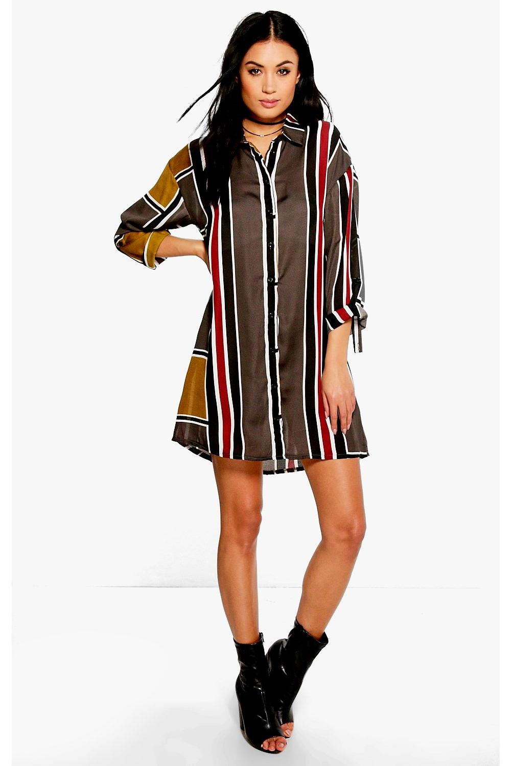 Belinda Long Sleeve Mix Stripe Shirt Dress