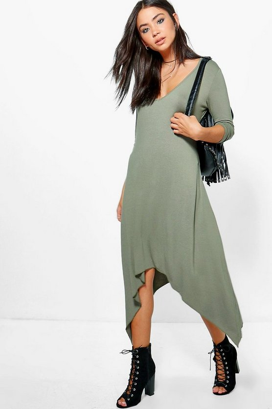 Lydia V Neck Dipped Hem Midi Dress