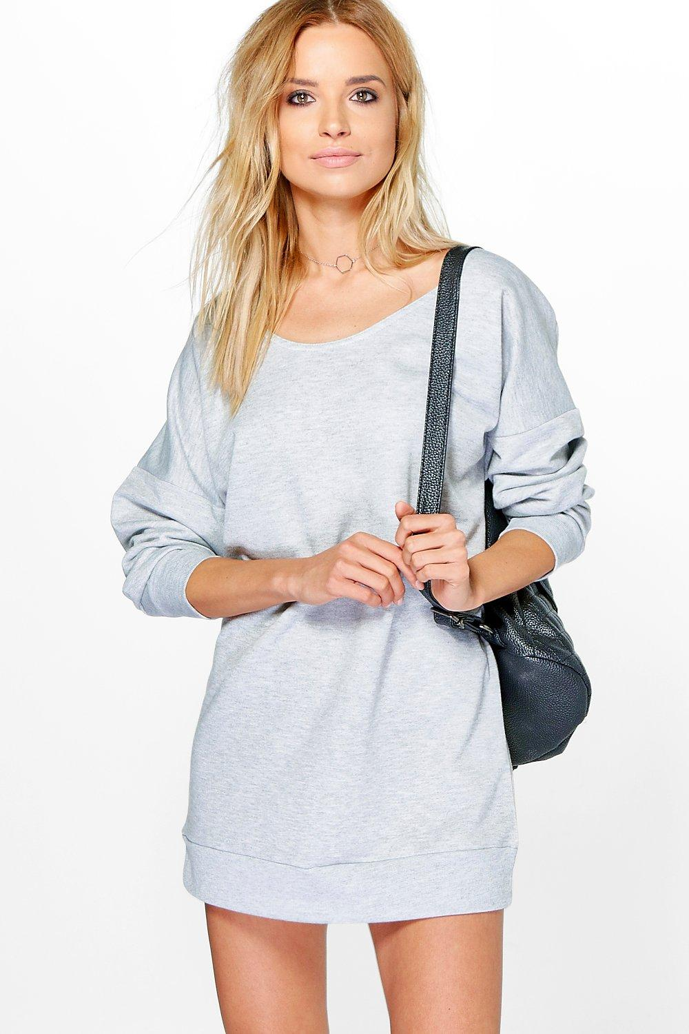 Annita Slash Neck Sweat Dress