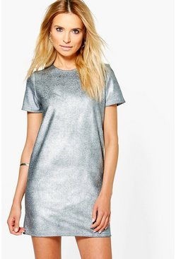 Penelope Metallic Ribbed Shift Dress