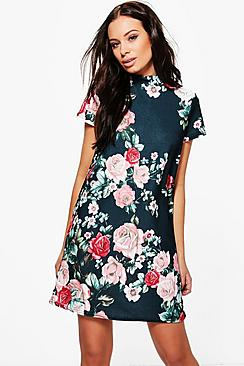 Natalie Floral High Neck Shift Dress