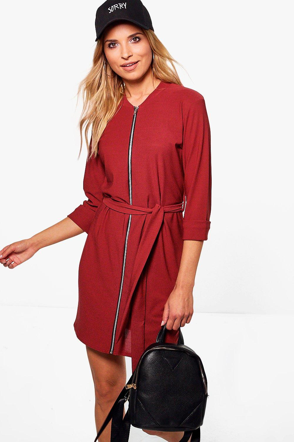 Gillian Zip Through Belted Shift Dress