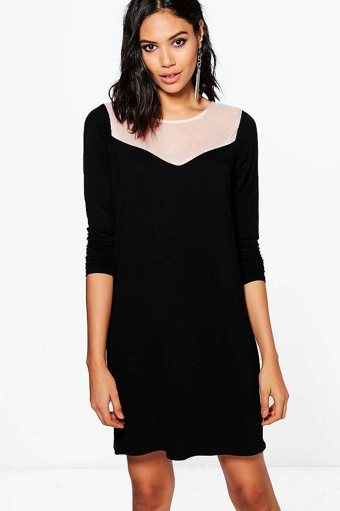 Francessa Mesh Panel Shift Dress