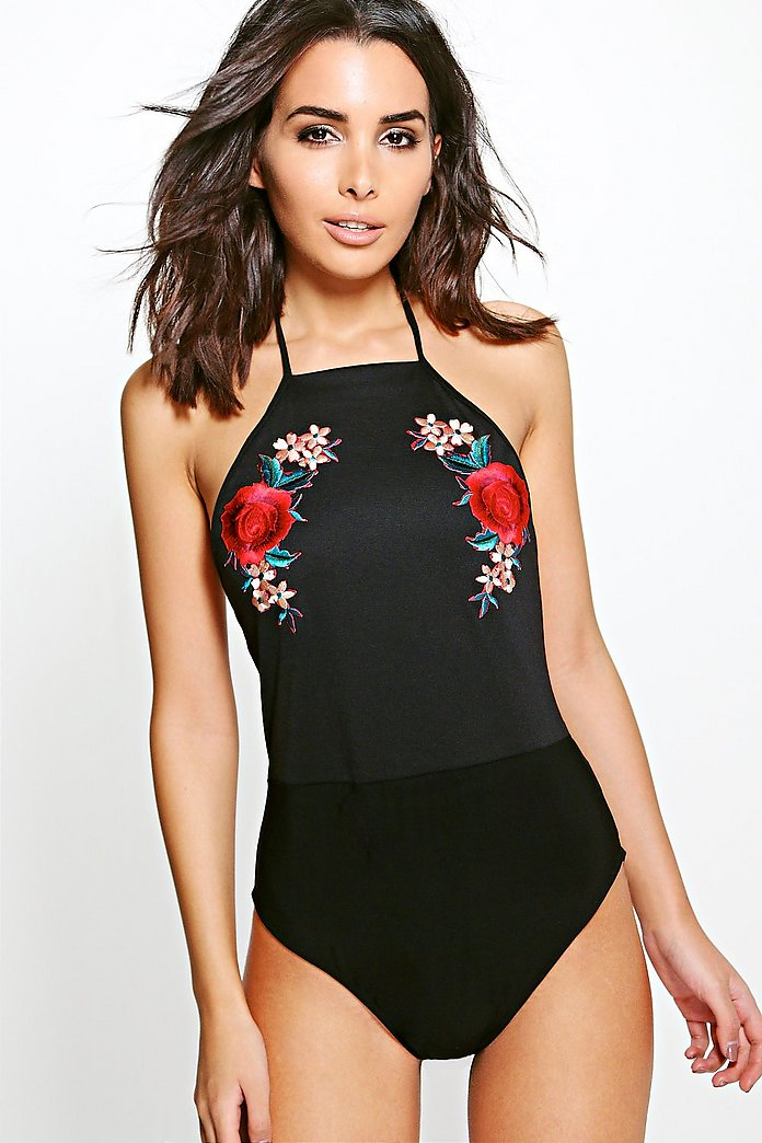 Emily Embroidered Halter Bodysuit