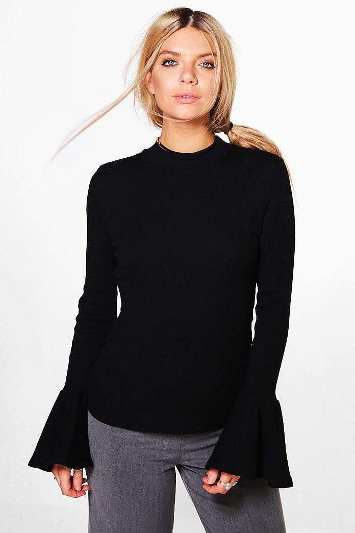 Hallie High Neck Frill Cuff Ribbed Top