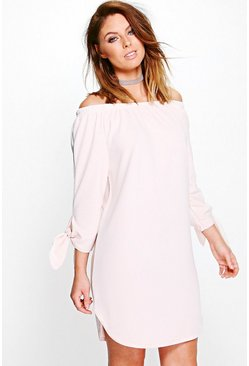 Victoria Off Shoulder Tie Sleeve Shift Dress