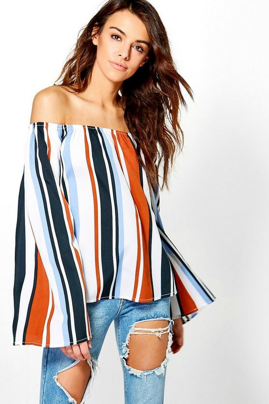 Helena Stripe Off The Shoulder Top