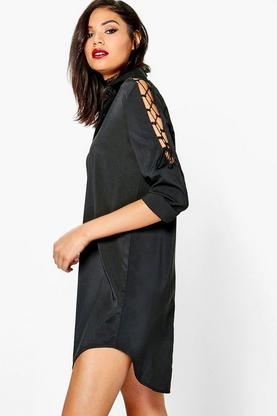Georgie Lace Up Shoulder Detail Shirt Dress