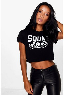 Squad Ghouls Halloween Printed Crop T-Shirt