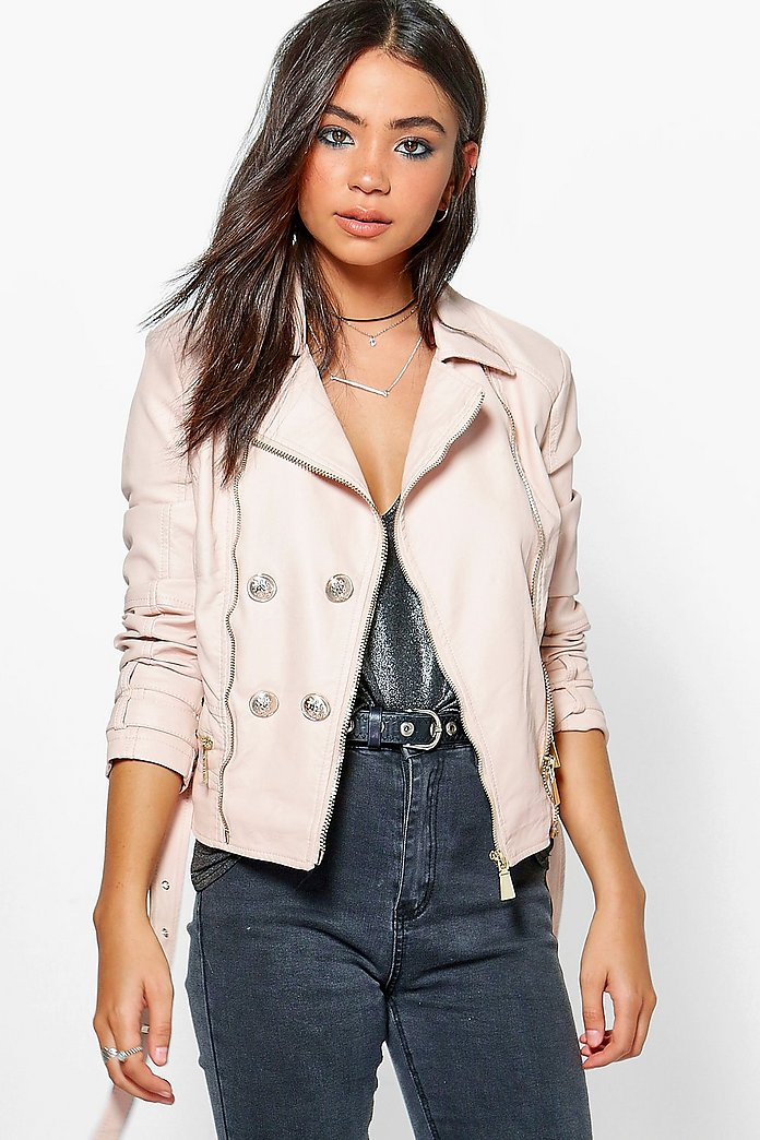 Debbie Belted Button Faux Leather Jacket