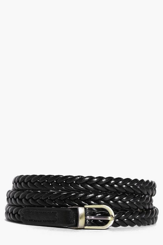 Lacey Plaited Metal Tip Skinny Belt
