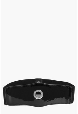 Kitty Patent Circle Detail Waist Belt