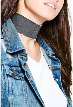 Mia Thin Denim Frayed Adjustable Choker