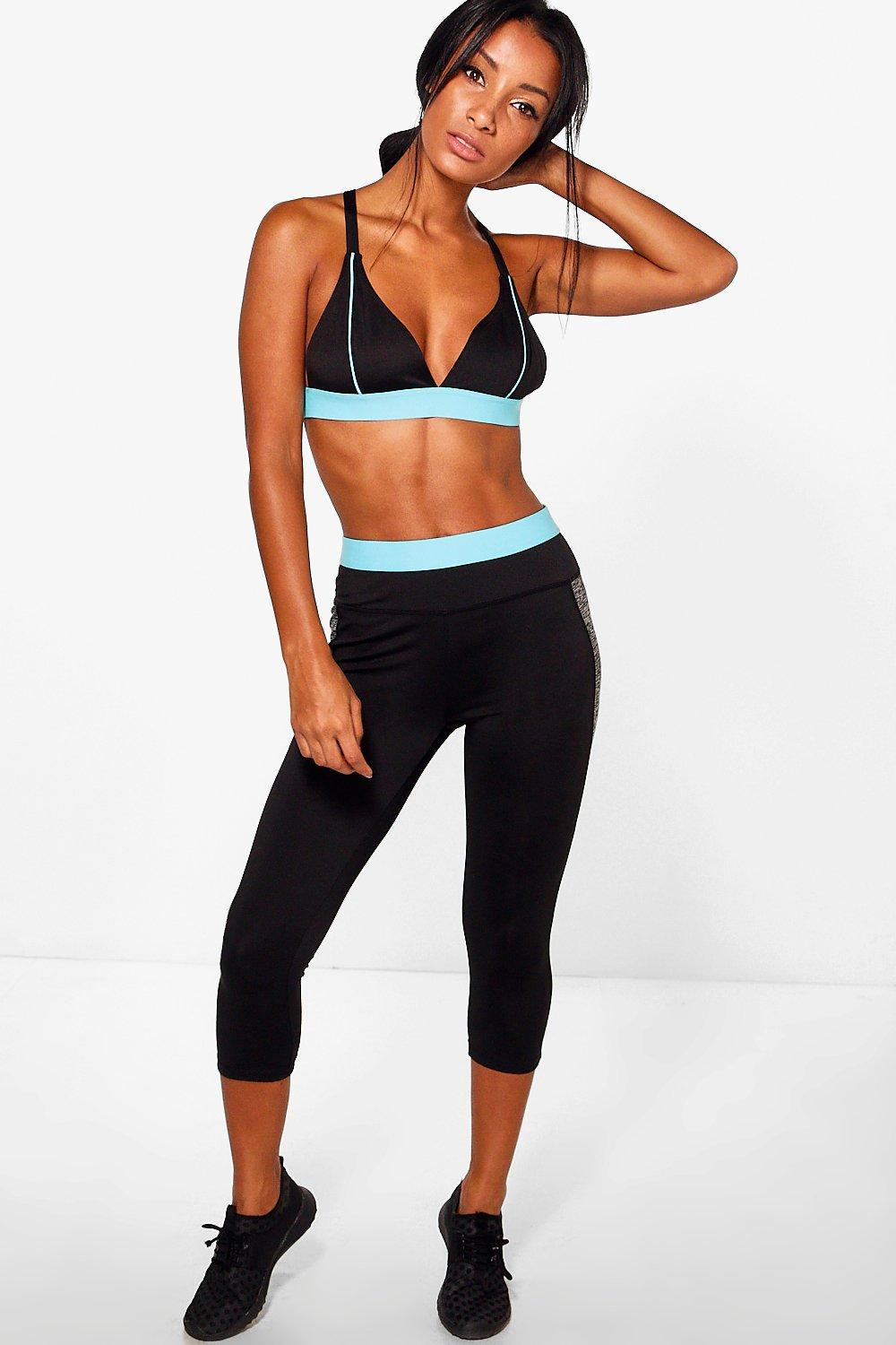 Natasha Fit Capri Running Leggings black