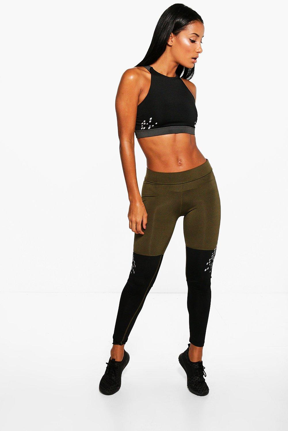 Molly Fit Contrast Panel Running Leggings khaki