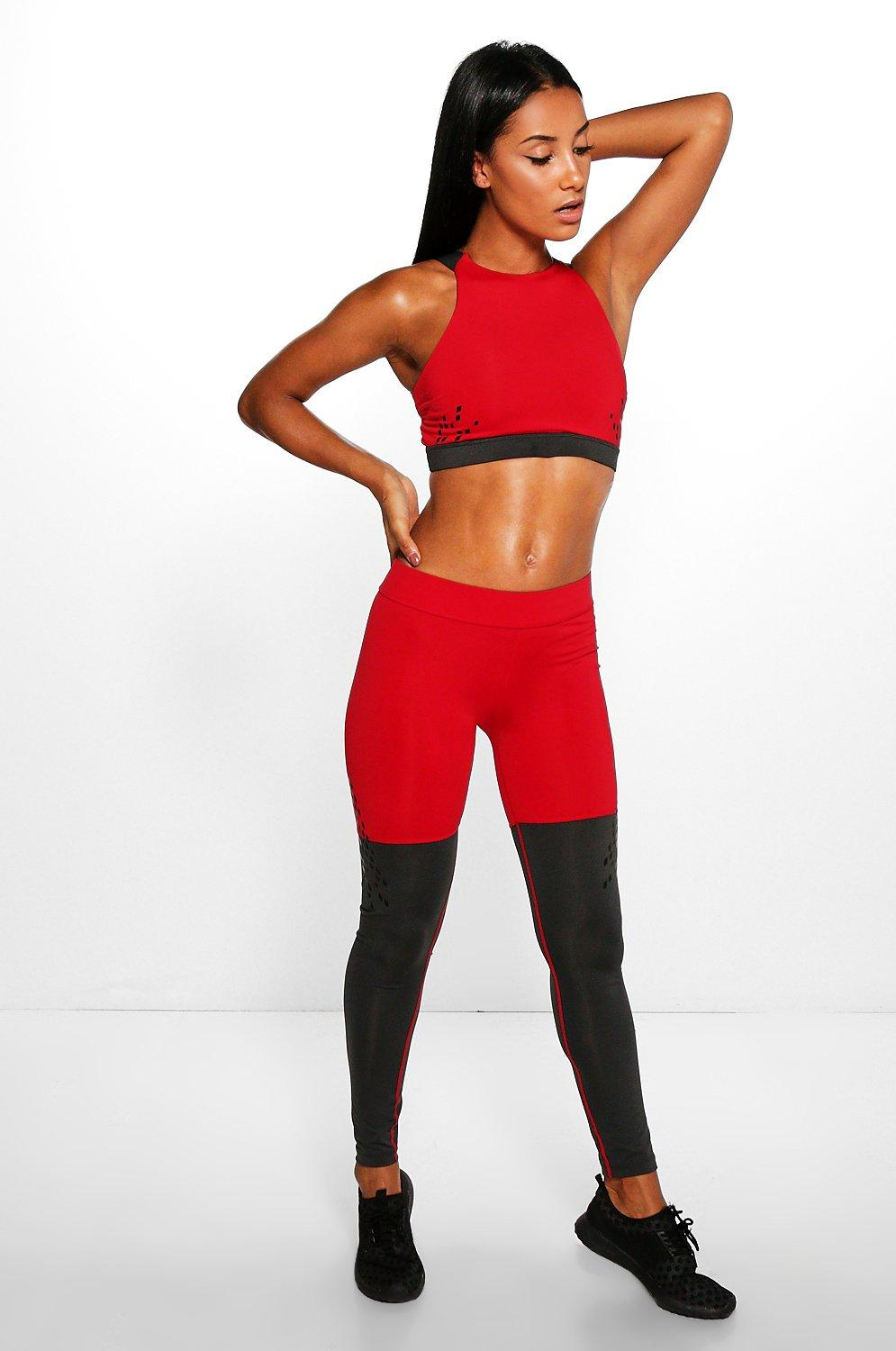 Harriet Fit contrast Panel Running Leggings red